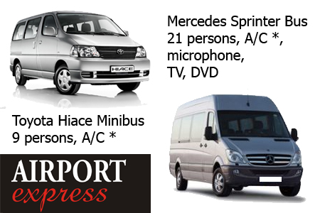 Our vehicles: Toyota Hiace (9 persons), Mercedes Sprinter (22 persons)